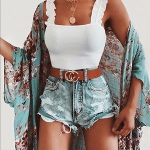 High waisted distressed denim jean shorts